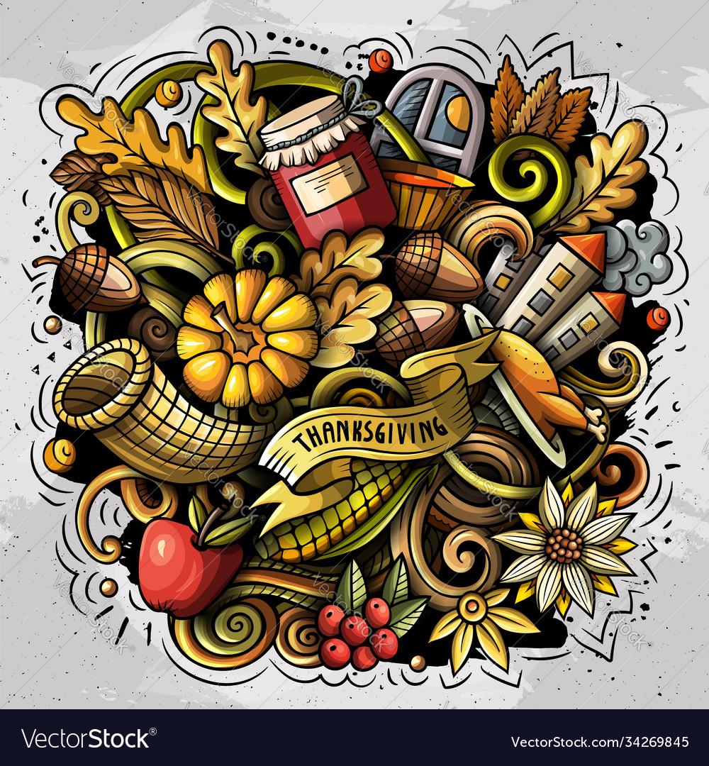 Thanksgiving hand drawn cartoon doodles