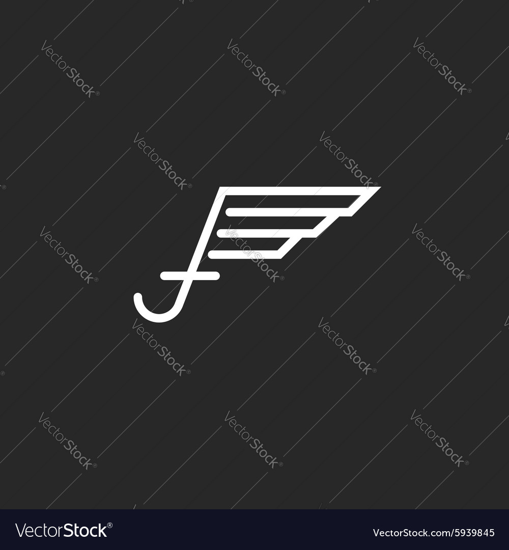 Uppercase letter f logo with wings monogram emblem vector image