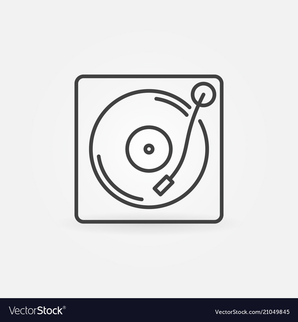 Vinyl player outline icon turntable concept