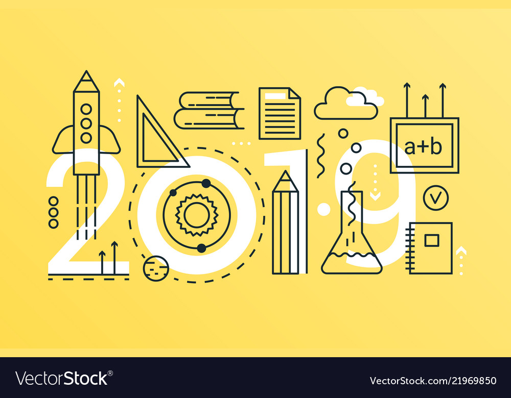 Back to school 2019 word trendy composition