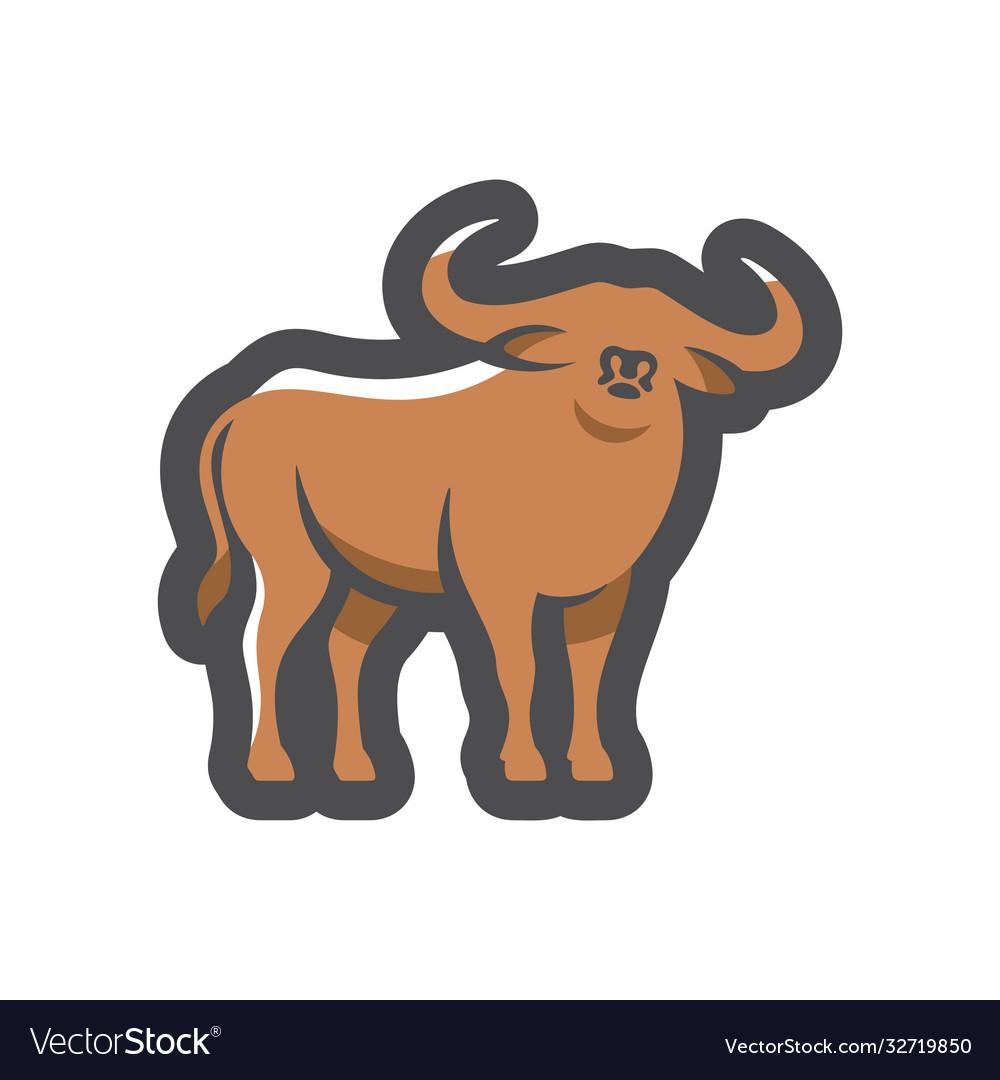 Buffalo bull silhouette icon cartoon