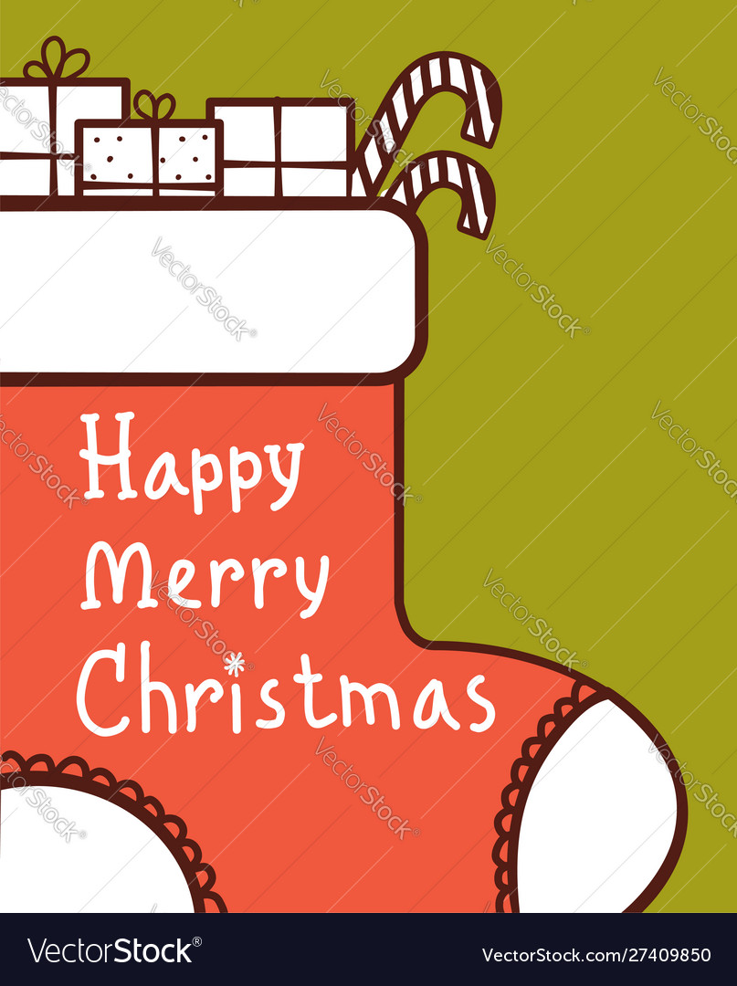 Christmas card with red sock and holiday gifts