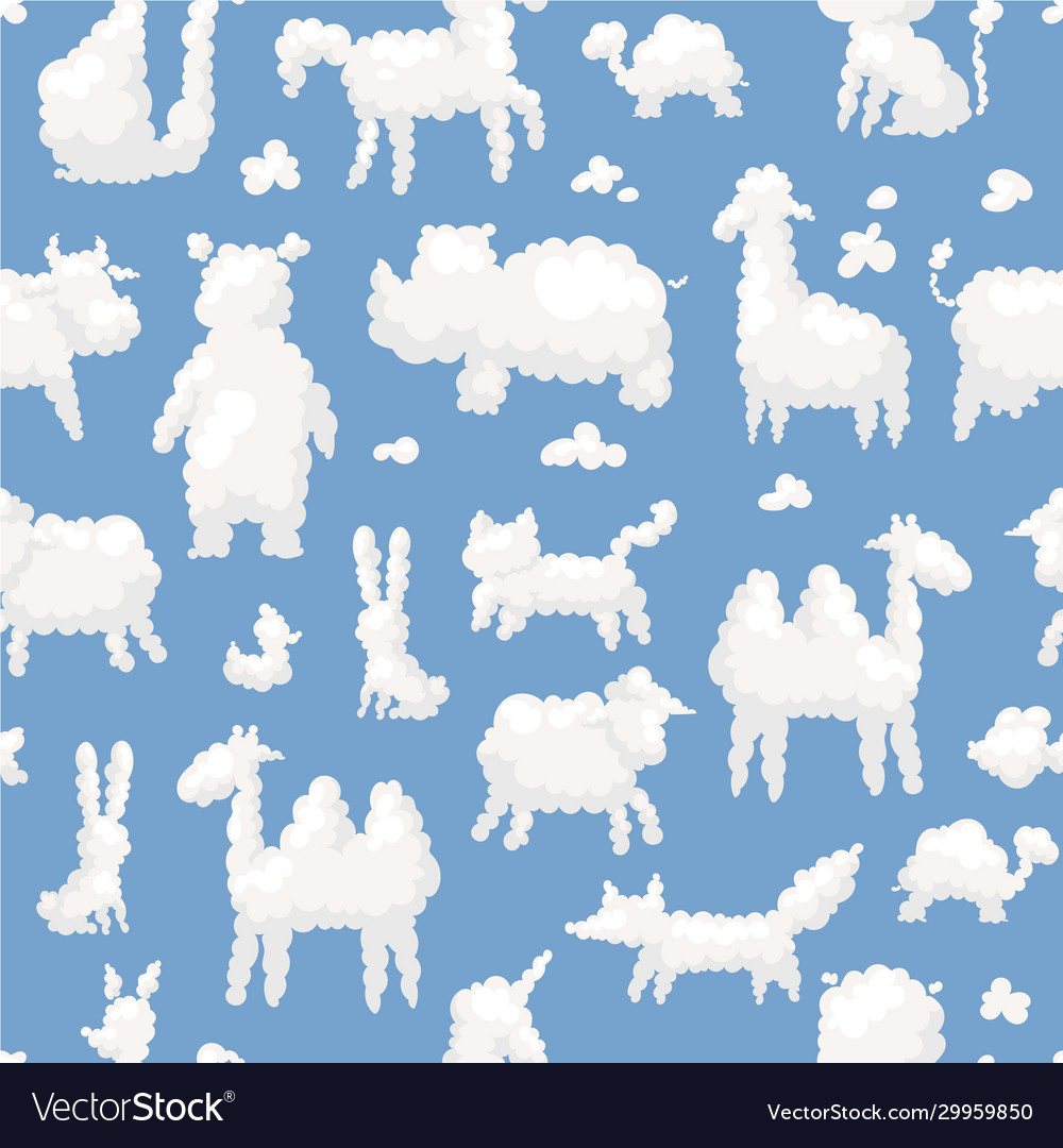 Clouds animal shapes seamless pattern with sheep