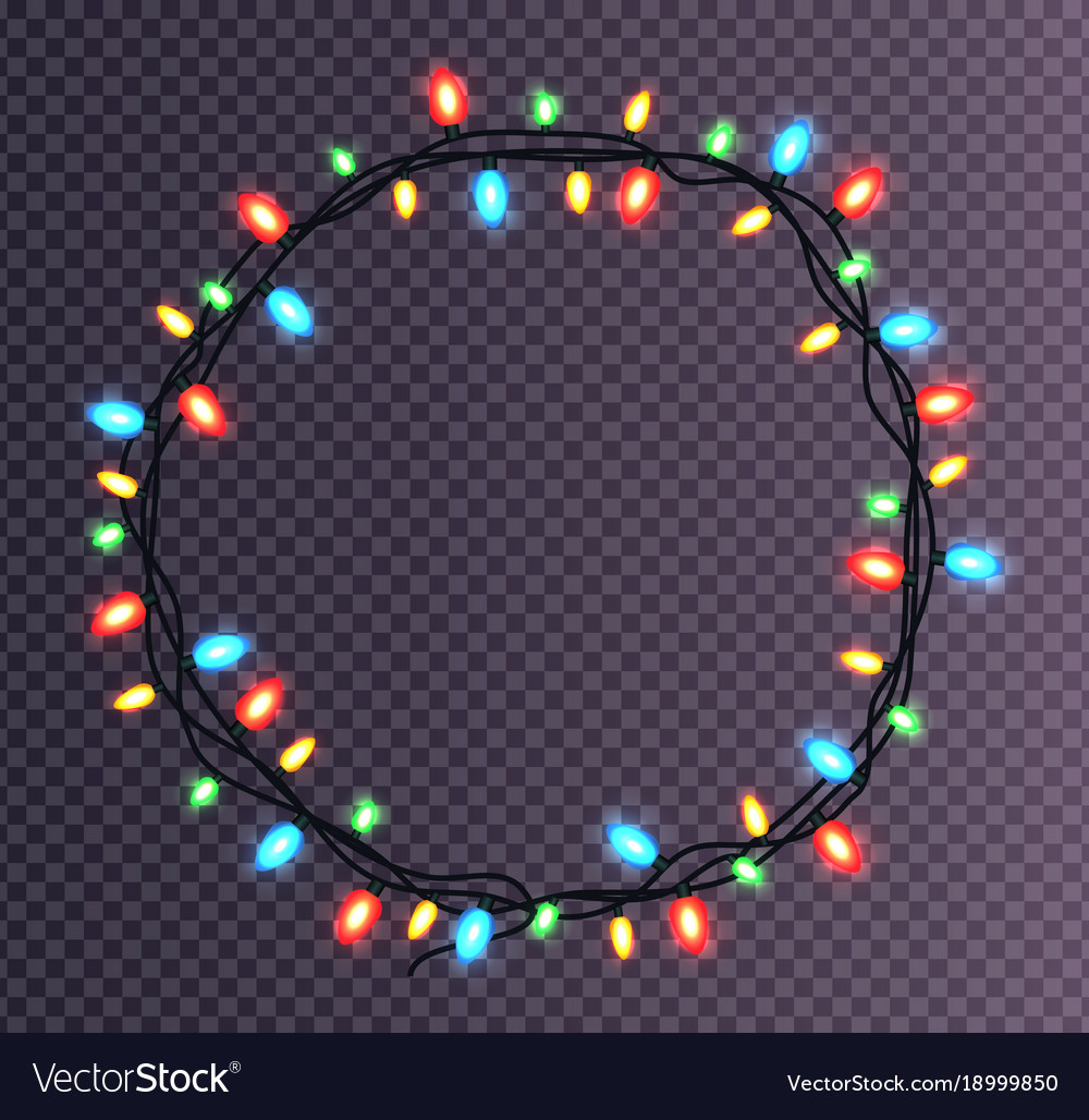 Christmas Lights.Colorful Round Frame Of Christmas Lights Sparkling