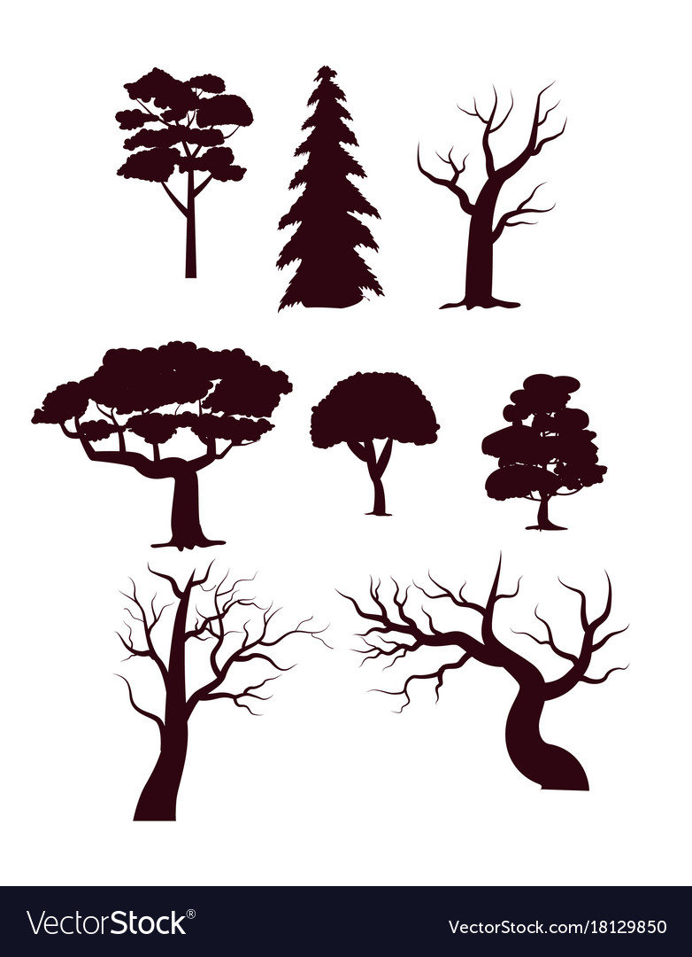 Deciduous forest trees silhouette set