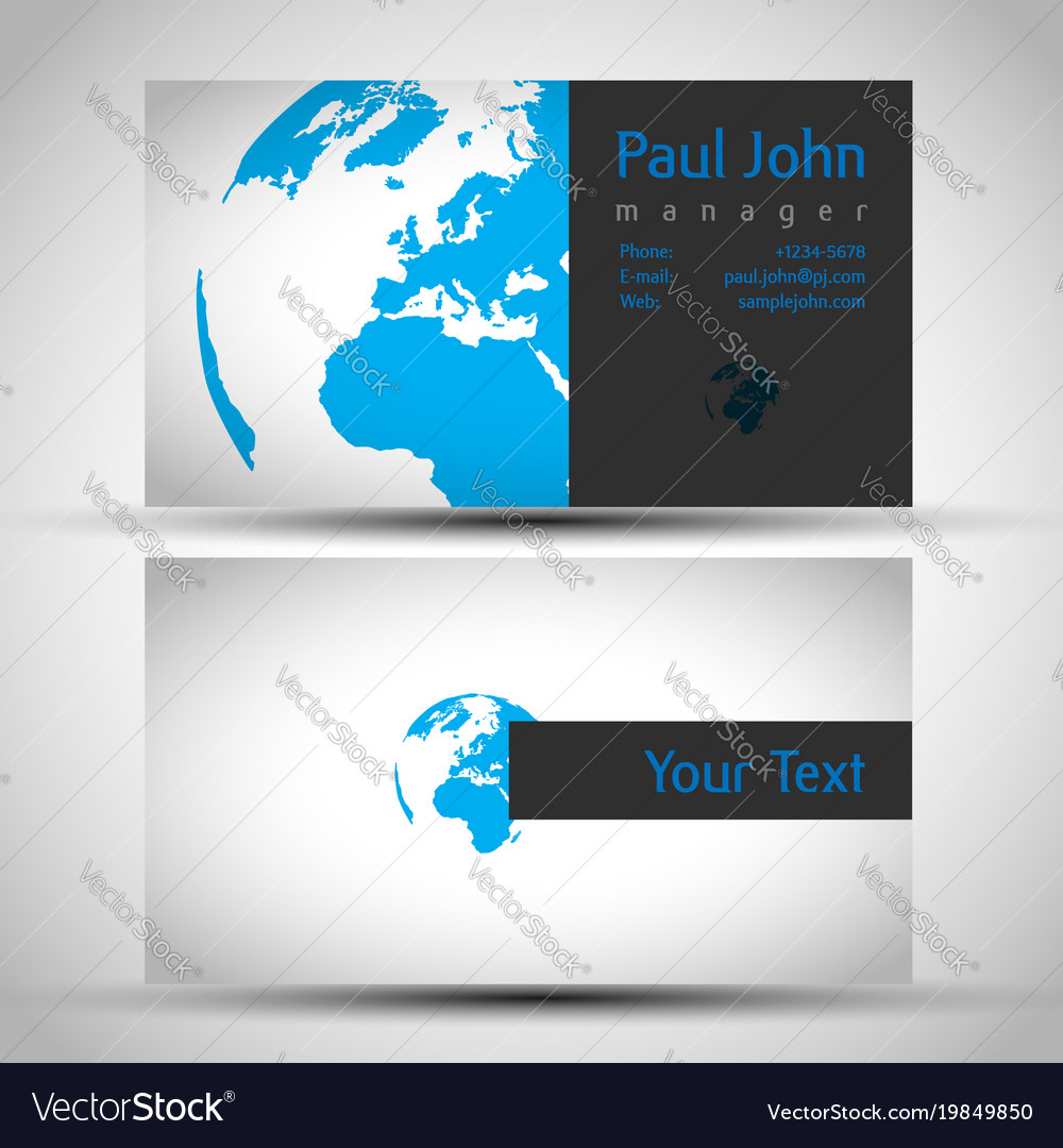 earth business card front and back vector image - Back Of Business Card
