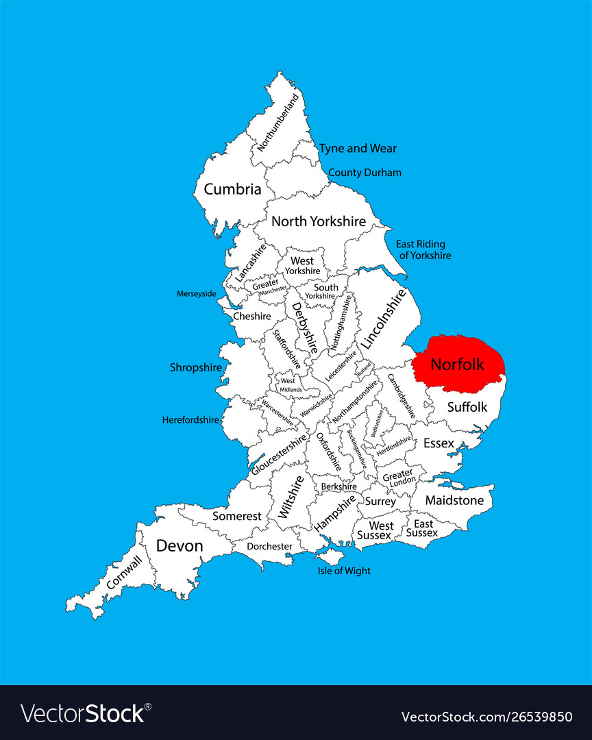 Map Of The East Of England.Map Norfolk In East England United Kingdom