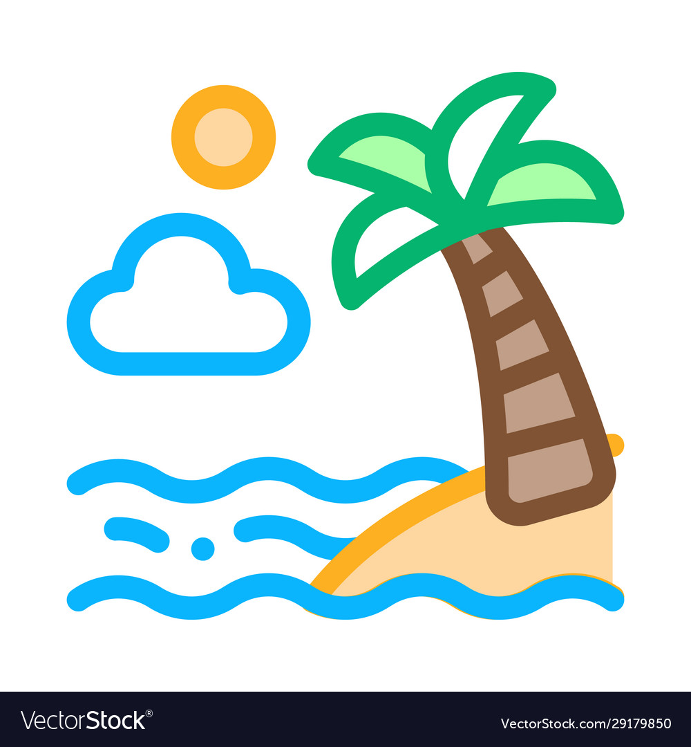 Ocean view with palm icon outline