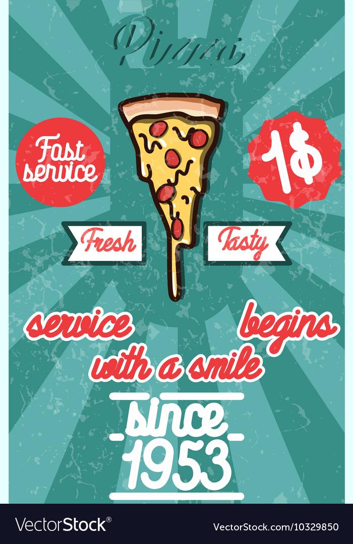 Pizza banner Vintage fast food background