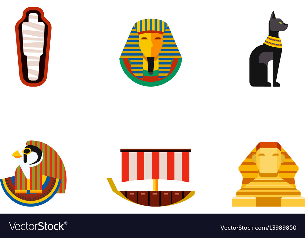 Set of flat design egypt travel icons