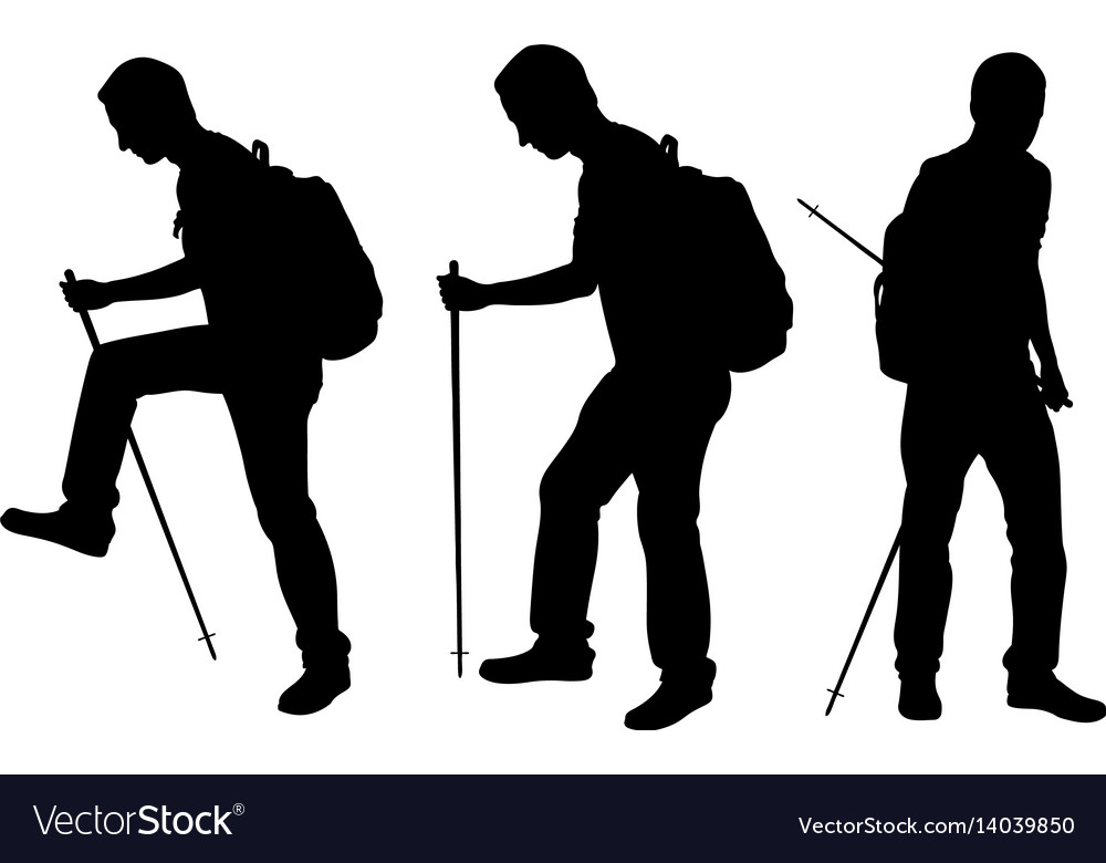Silhouettes of people trekking vector image