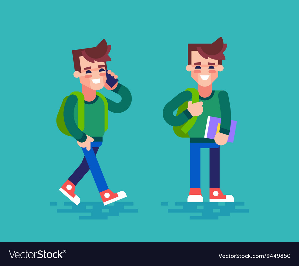Student in different poses Cartoon character