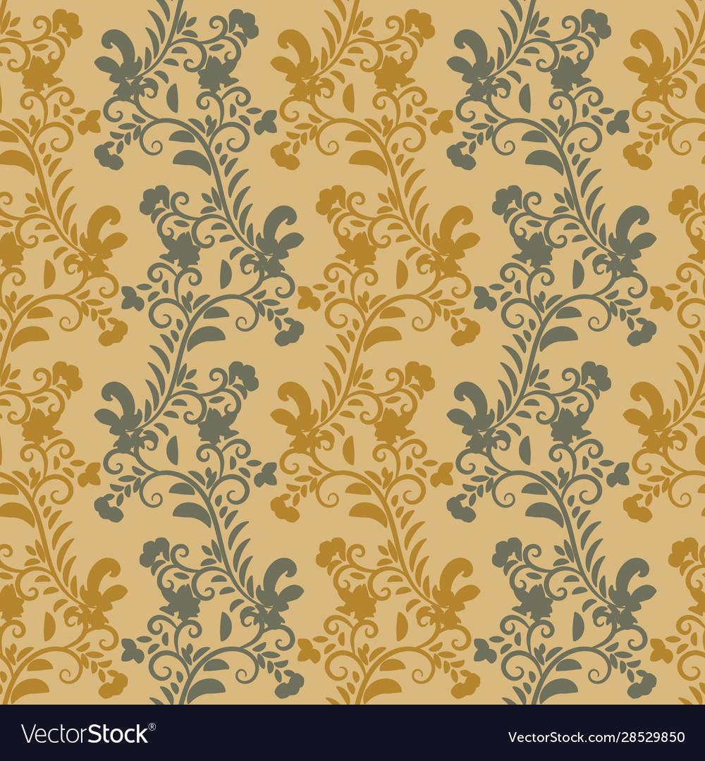 Vertical Botanical Stripes Pattern In Mustard Vector Image