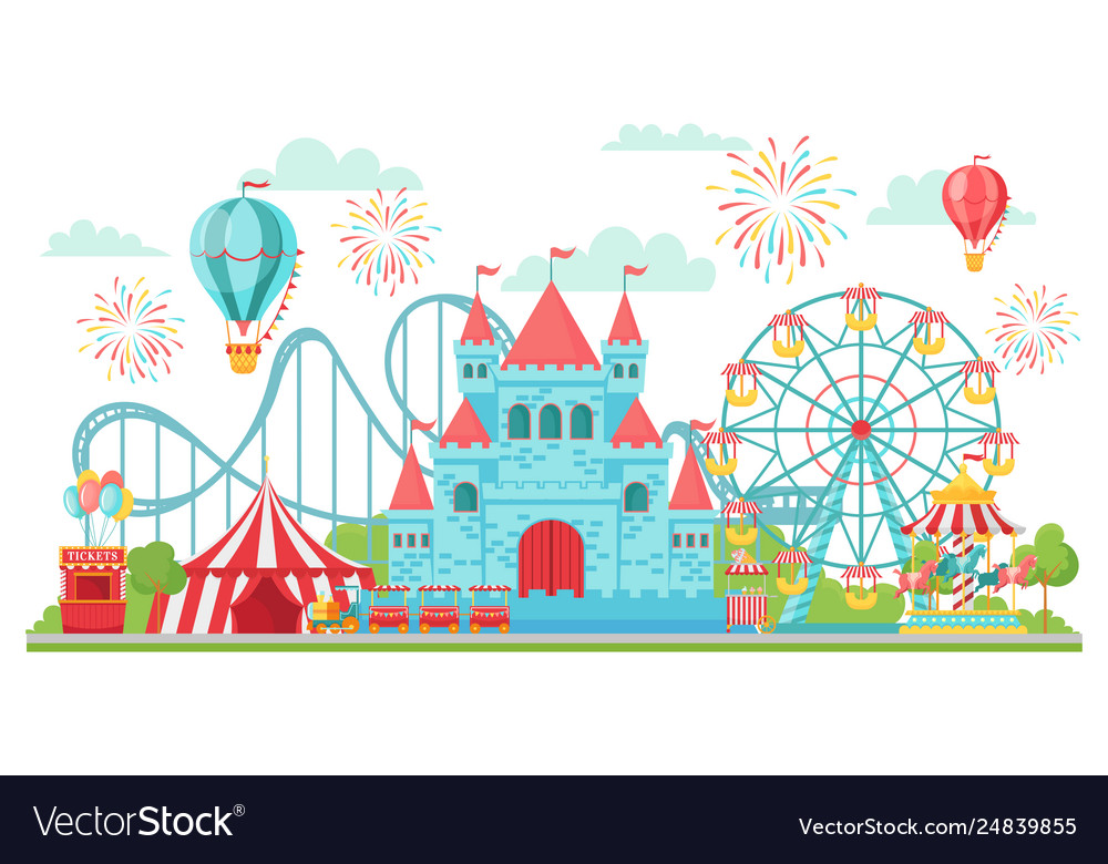 Amusement park roller coaster festival carousel
