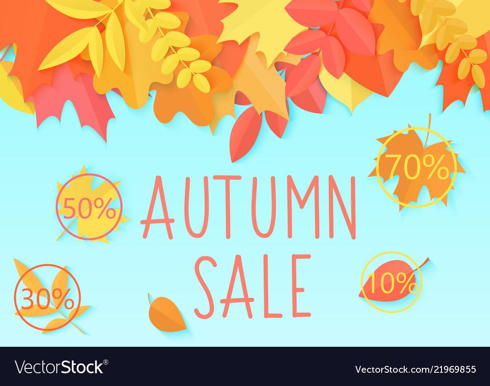 Autumn sale flyer template banner