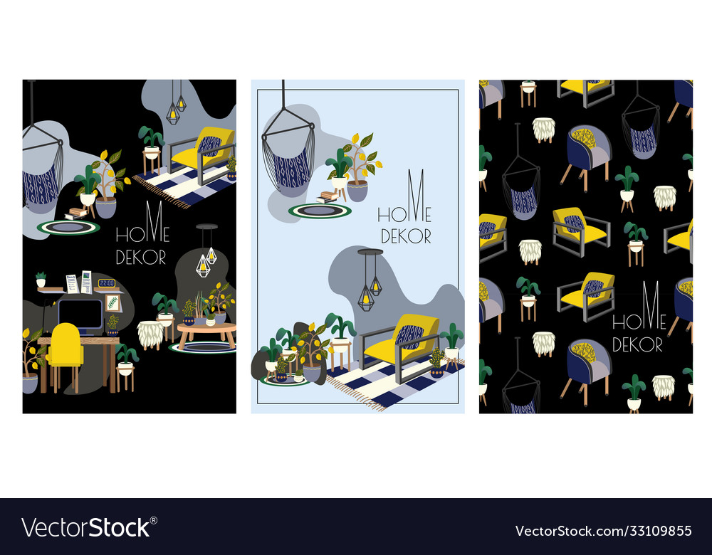 Banner or card with interior elements for home