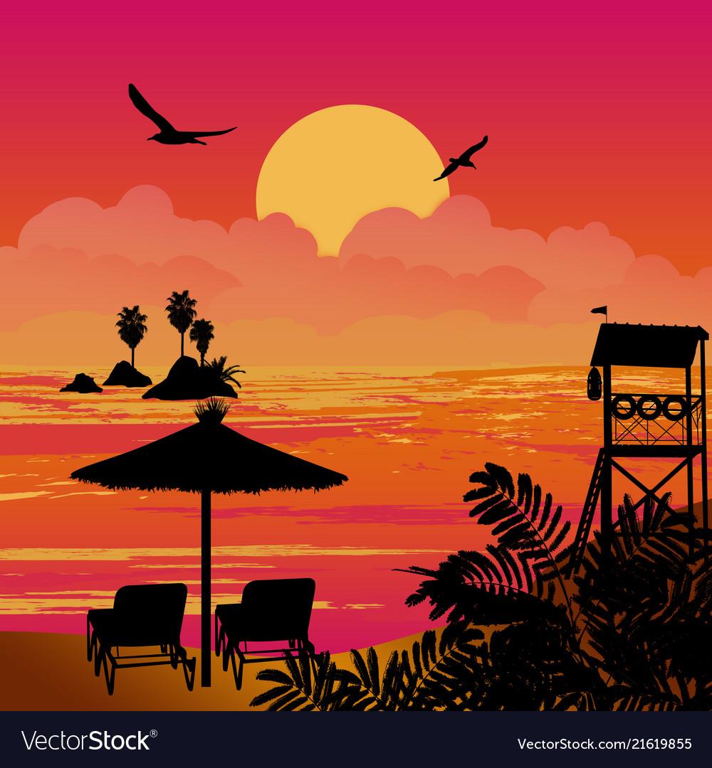 Beautiful sunset sea scenery with chairs