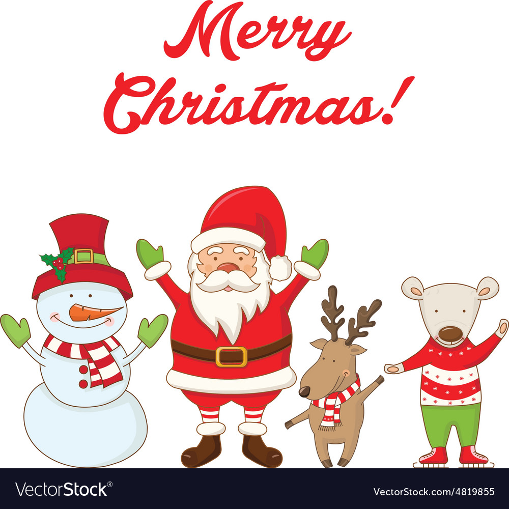characters and the words Merry Christmas