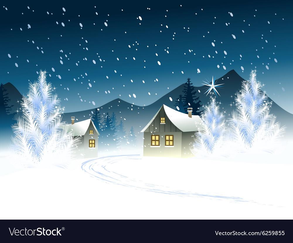 Christmas landscape Royalty Free Vector Image - VectorStock