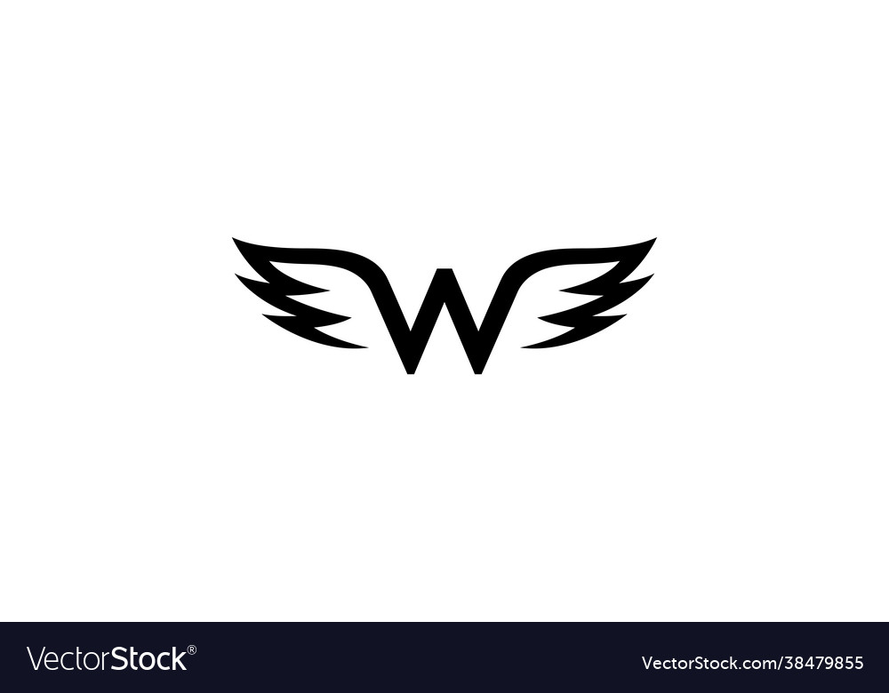 Creative black wings w letter alphabet logo