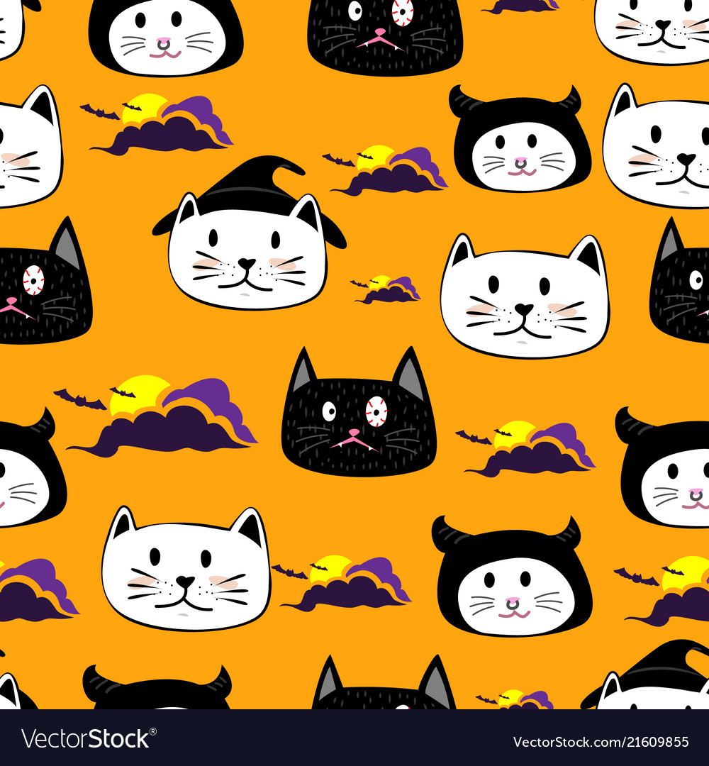 Cute face cat hand drawn cartoon halloween theme