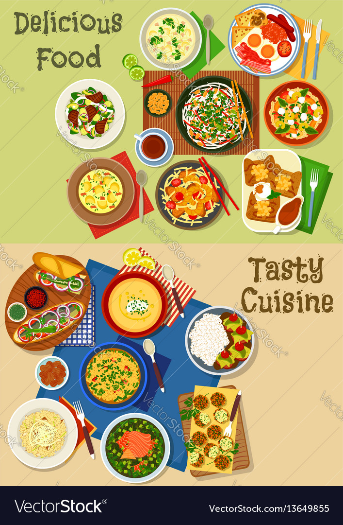 Lunch and breakfast menu icon set design