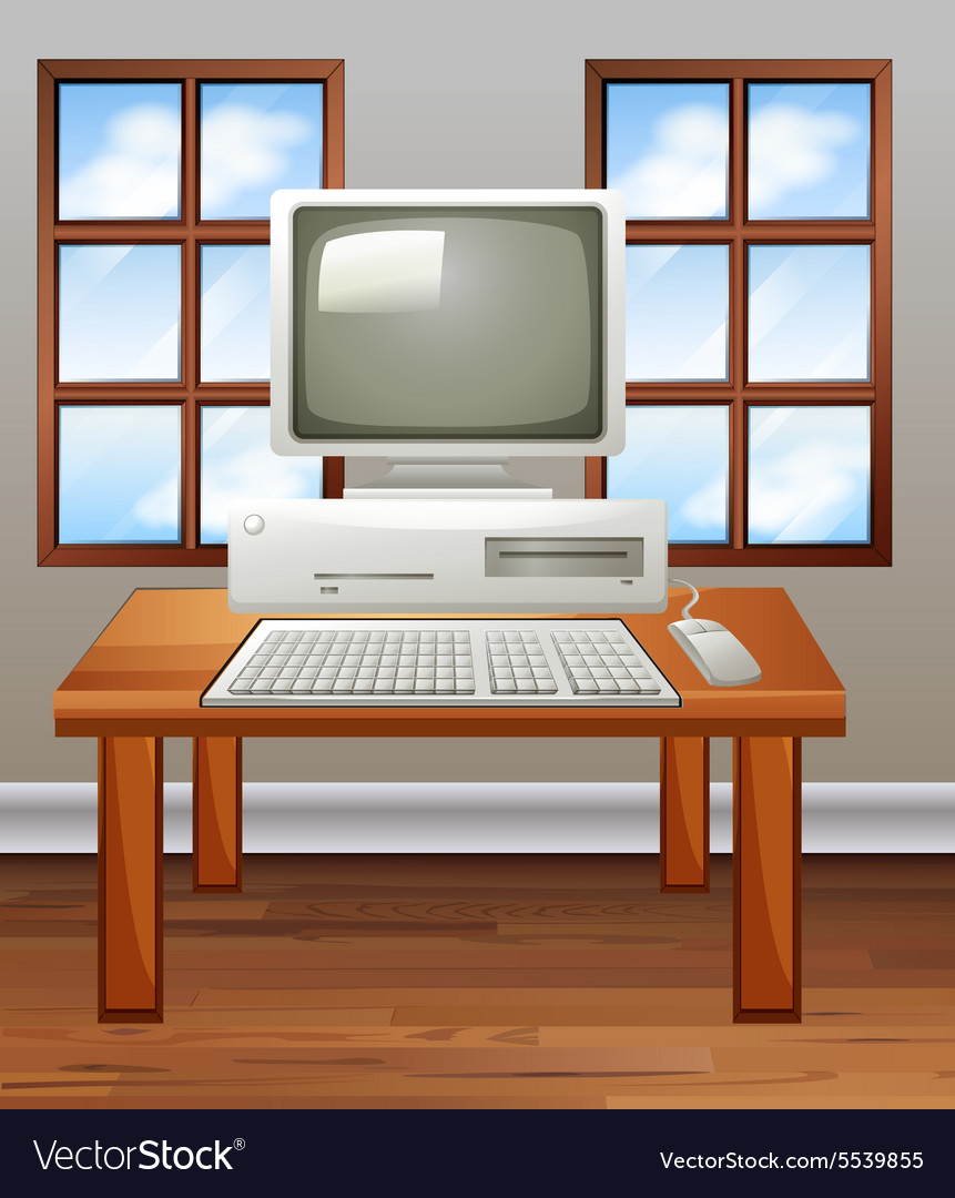 old computer in room royalty free vector image