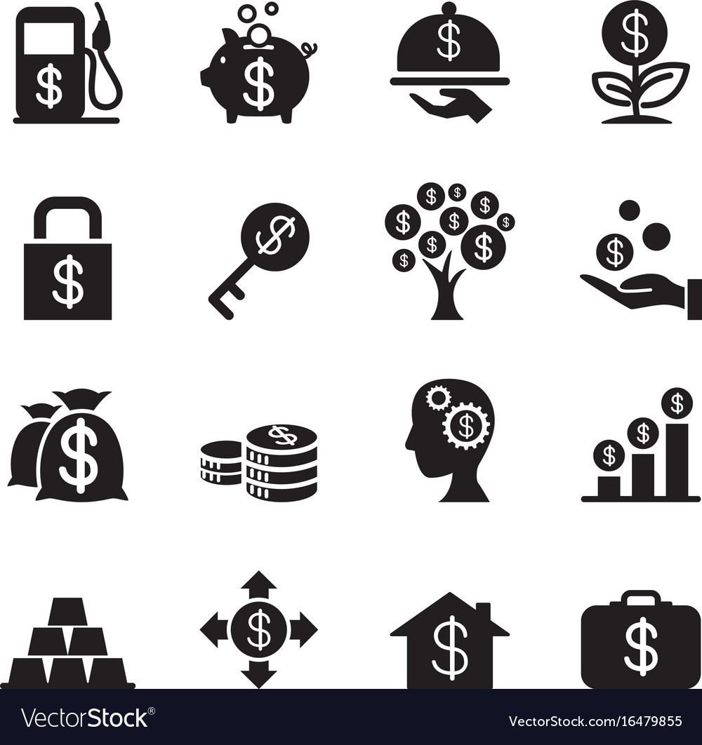 Silhouette financial investment icons set