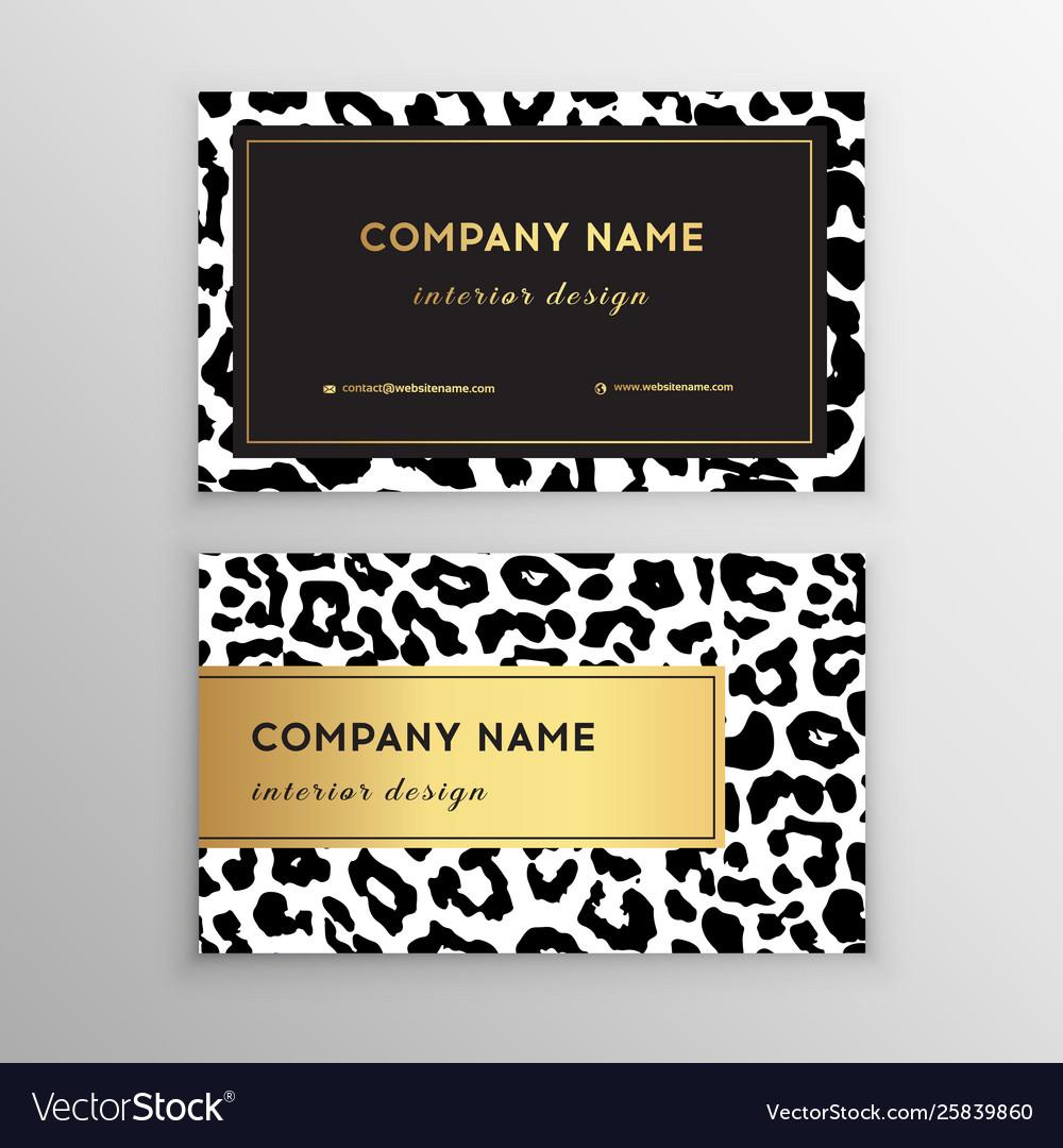Business card trendy leopard pattern wild animals
