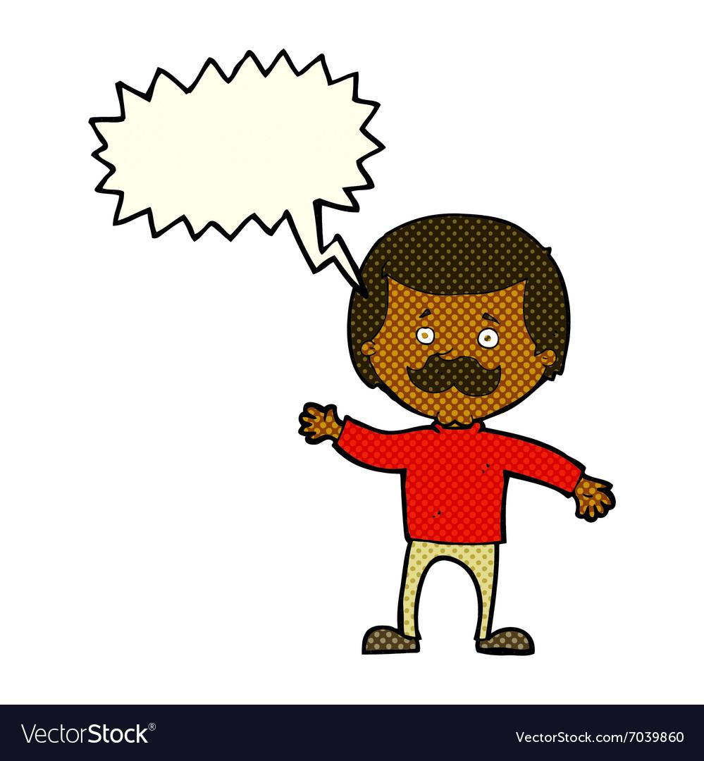 Cartoon dad waving with speech bubble vector image on VectorStock