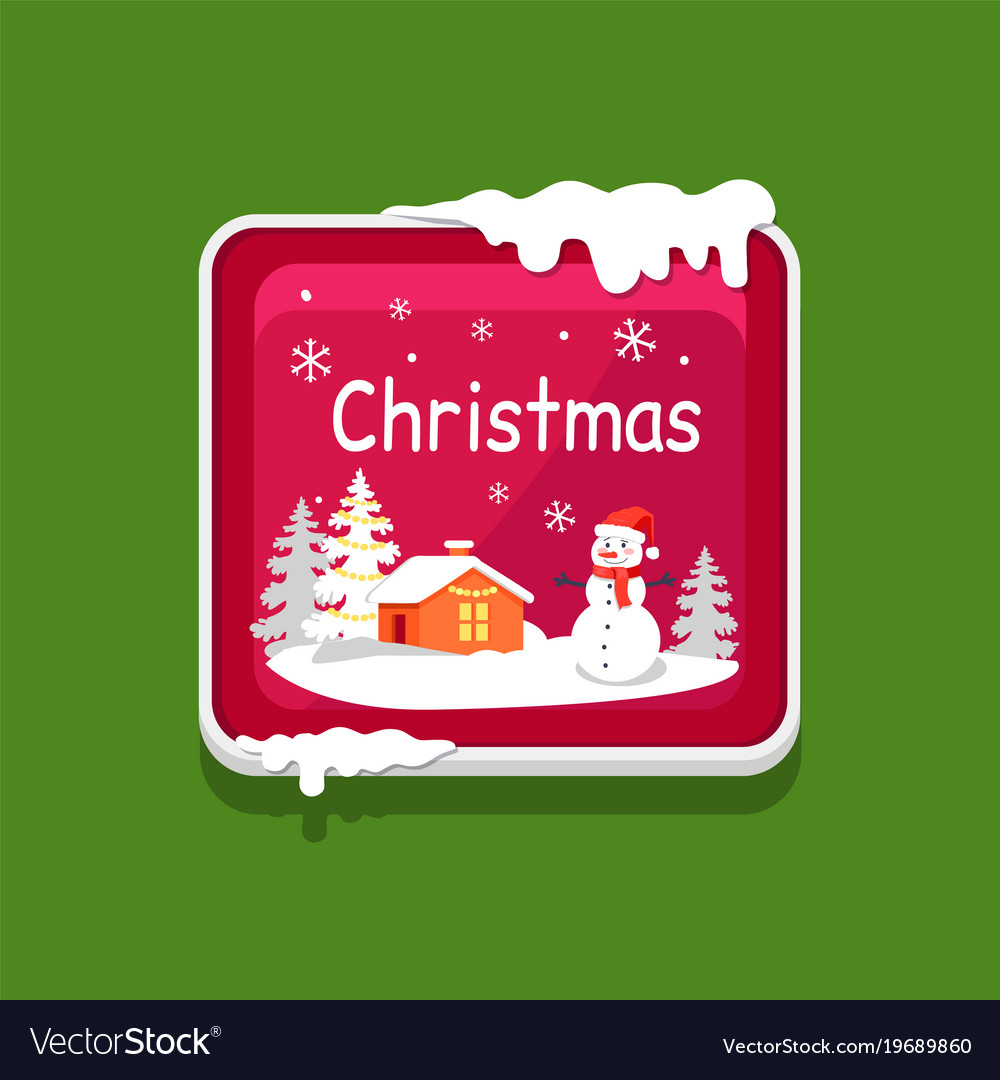 Christmas web button covered with snow icon