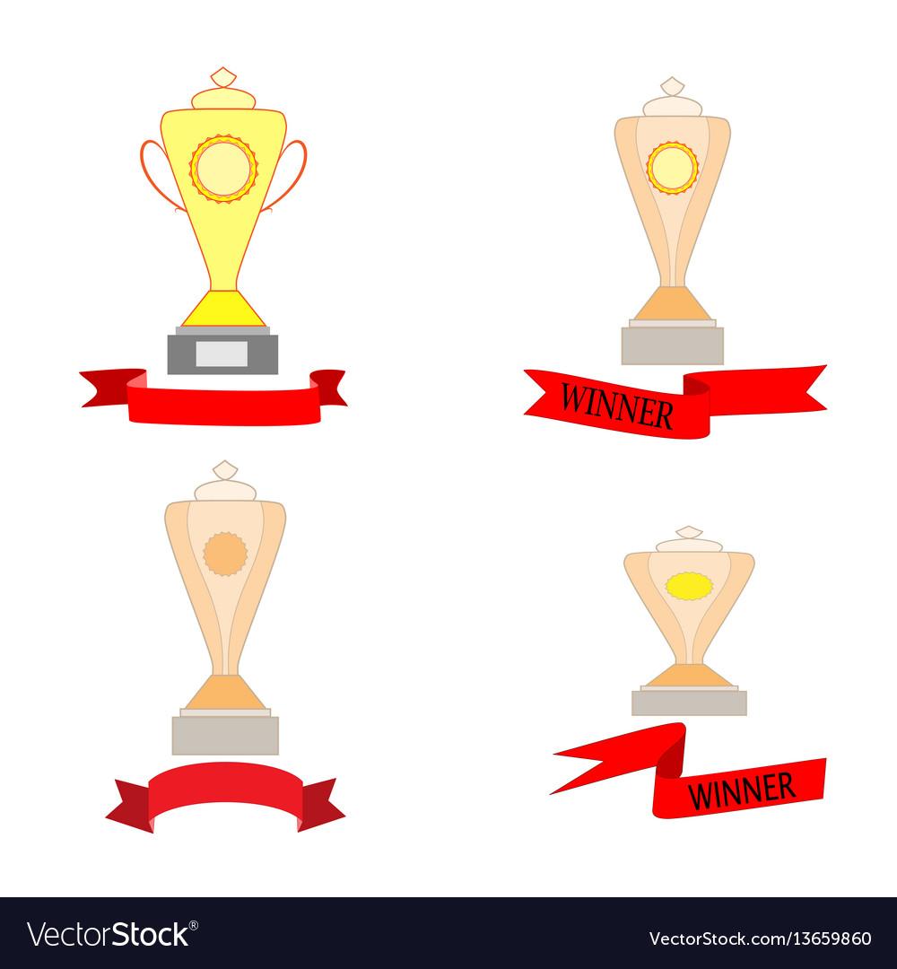 Cup and ribbon reward set vector image