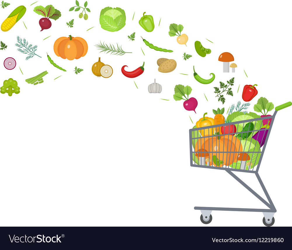 Full trolley cart with fresh vegetables Flat vector image