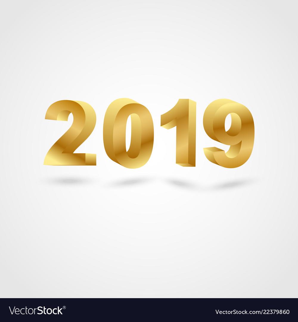 Golden 2019 on gray background