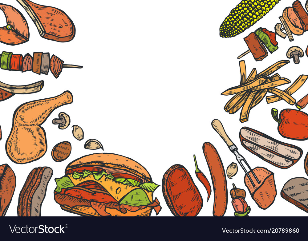 Grill menu design template vector image