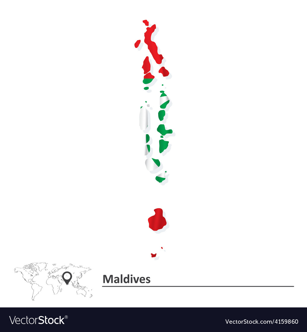 Map of Maldives with flag Royalty Free Vector Image