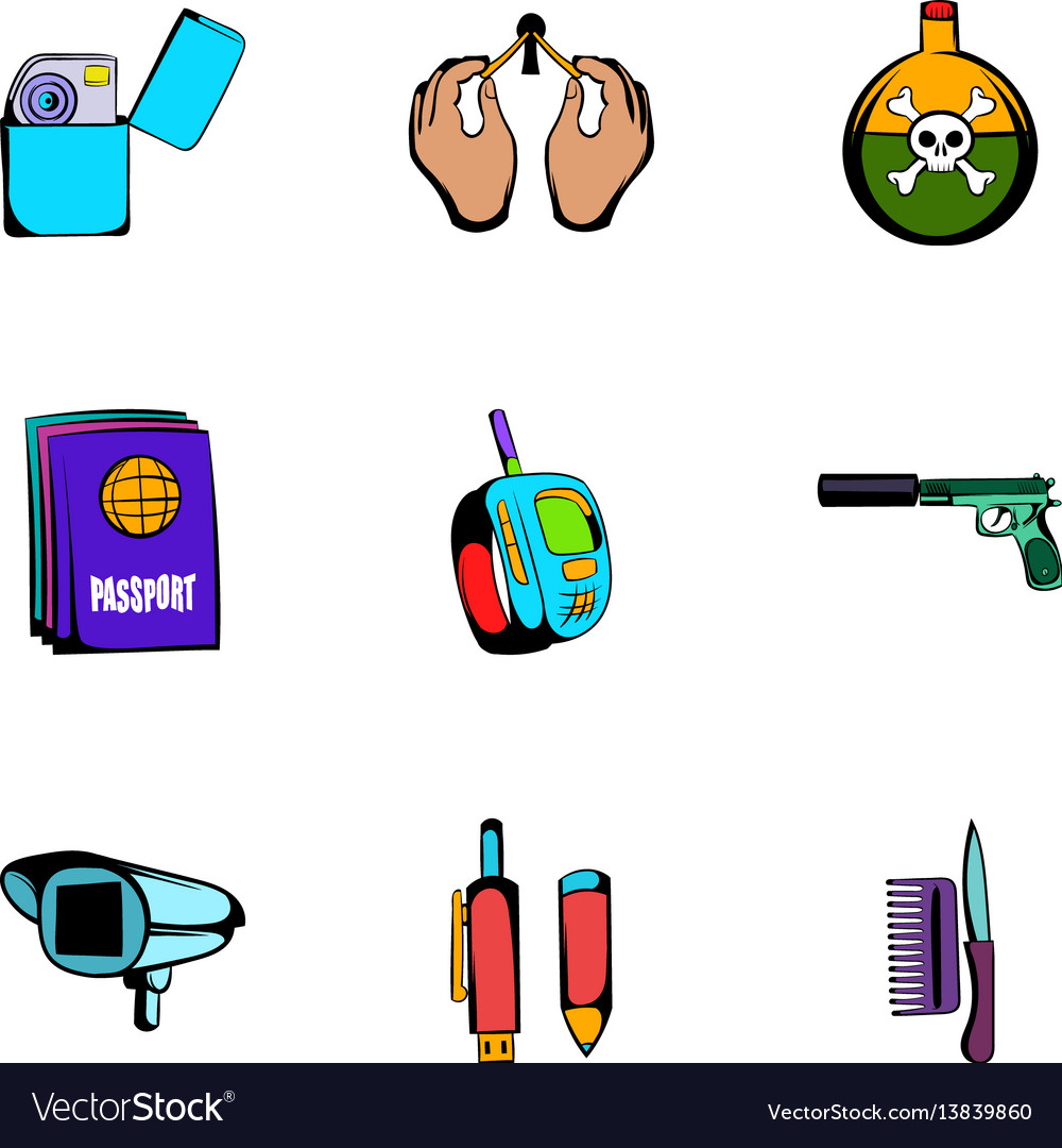 Spy icons set cartoon style vector image