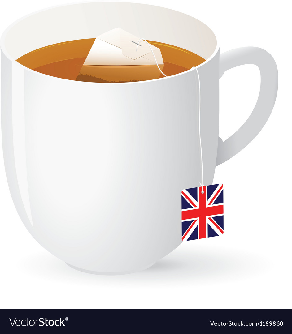 Tea bag in white cup