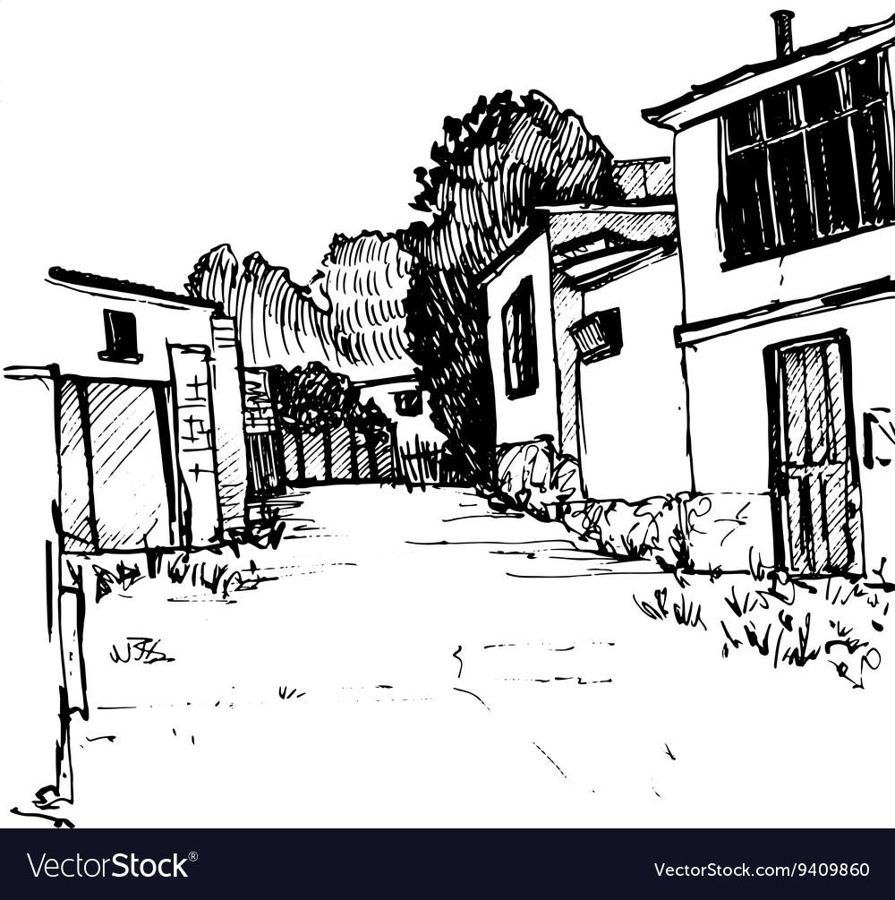 Urban sketch village street
