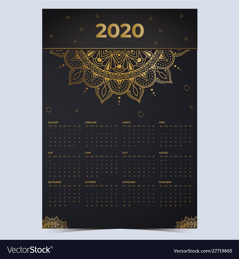 2020 calendar mandala gold effect