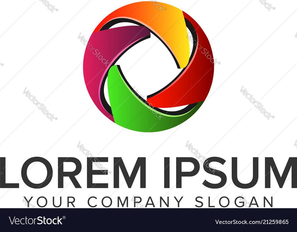 3d abstract circle colorful logo design concept