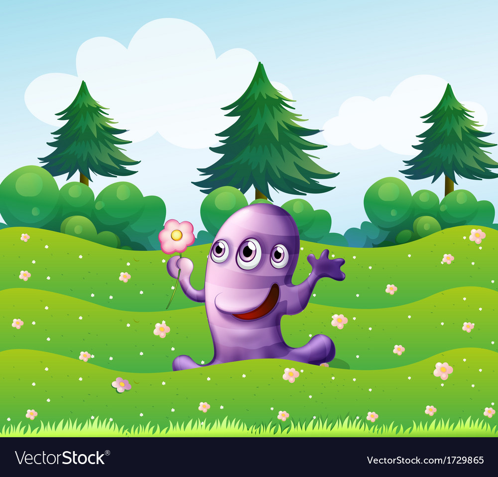 A three-eyed violet monster above the hill