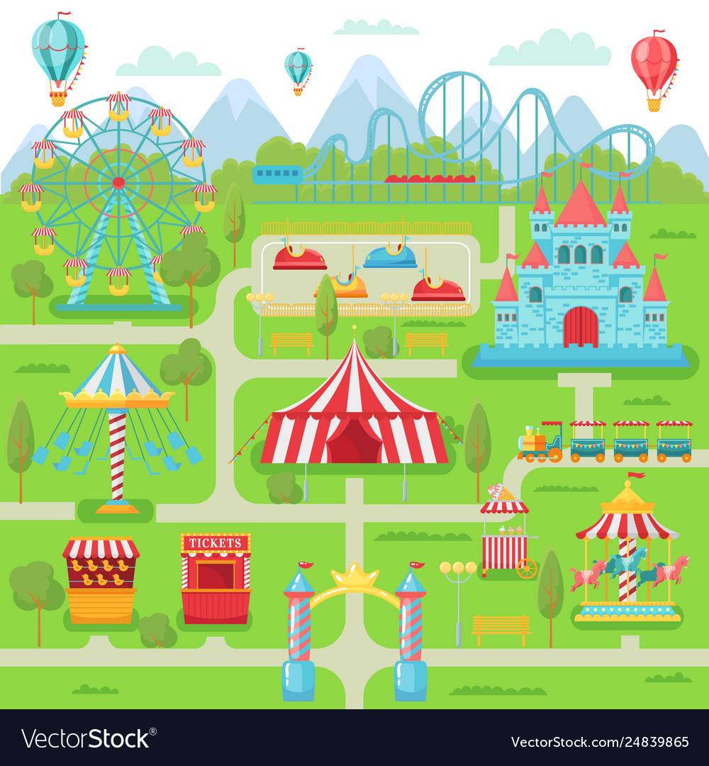 Amusement park map family entertainment festival