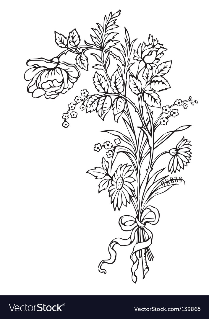 Antique flowers engraving vector image