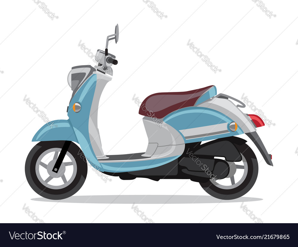 blue retro scooter flat style side view royalty free vector vectorstock