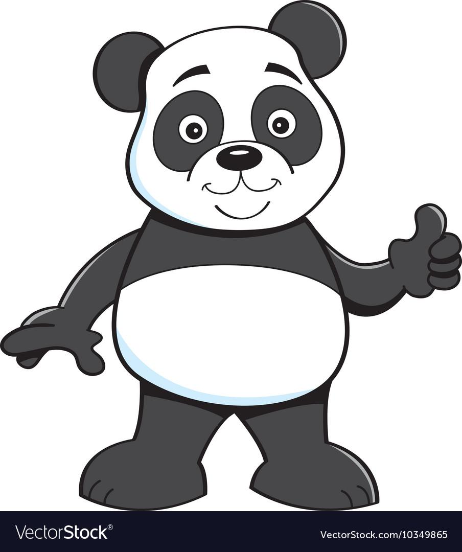 Cartoon panda bear giving thumbs up