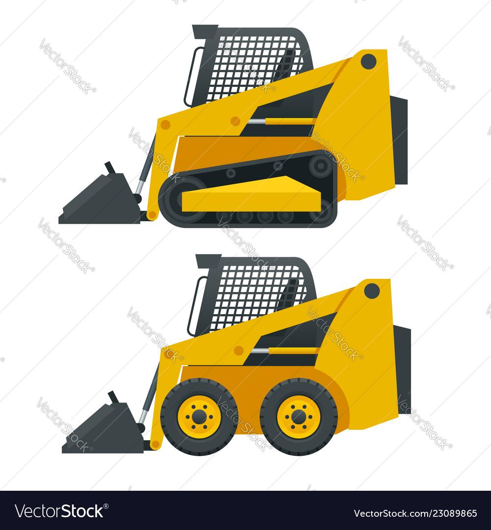 Compact excavators steer loader side view