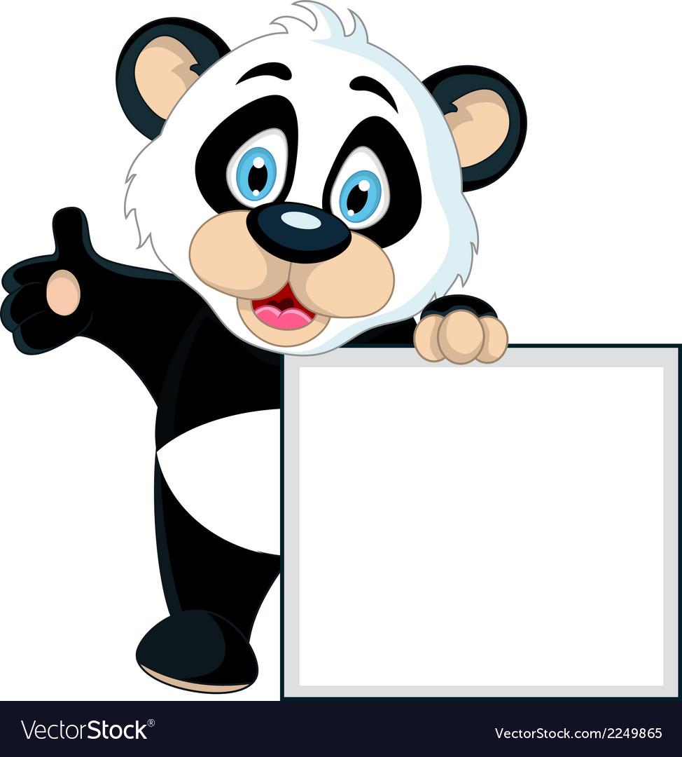 Cute panda cartoon holding blank sign vector image