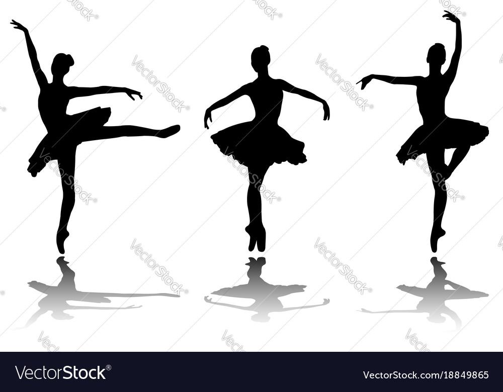 Elegant ballerinas silhouettes vector image