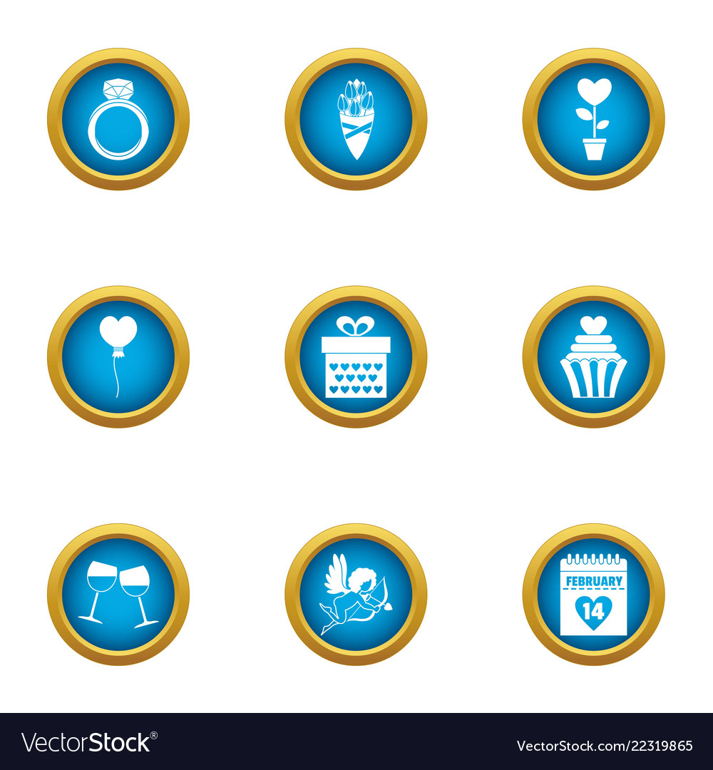Frame of mind icons set flat style Royalty Free Vector Image